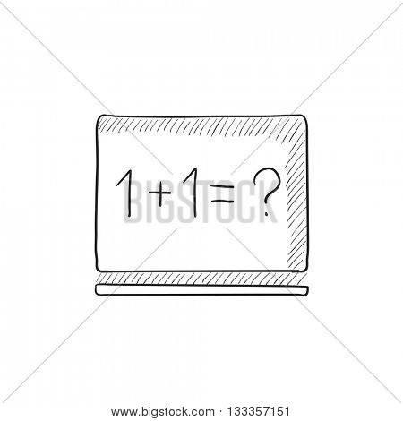 Maths example written on blackboard vector sketch icon isolated on background. Hand drawn Maths example on blackboard icon. Maths example on blackboard sketch icon for infographic, website or app.