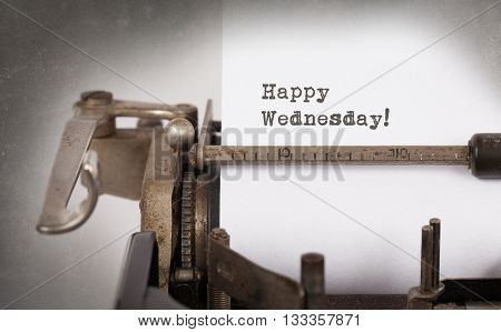 Vintage Typewriter Close-up - Happy Wednesday