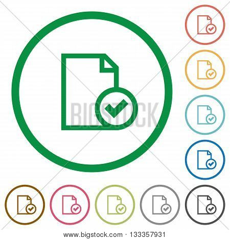 Set of Document accepted color round outlined flat icons on white background
