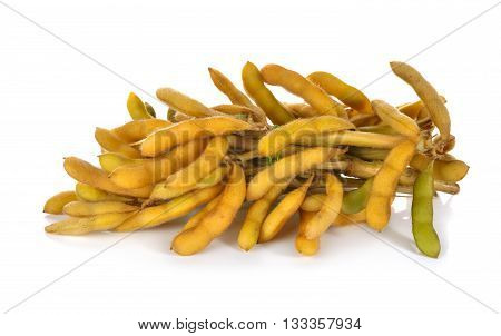 bunch of boiled soybean with shell and stem on white background