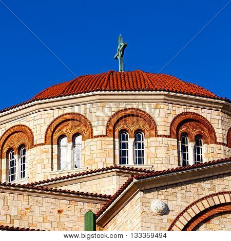 In Athens Cyclades Greece Old  Architecture And Greek  Village The Sky