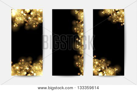 Abstract background with gold sparkles. Shiny defocused gold bokeh lights on black background. Festive gold background for card, flyer, invitation, placard, voucher, banner.