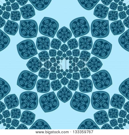 Abstract seamless blue pattern. Orient traditional ornament. Tile or dalle, or textile decoration