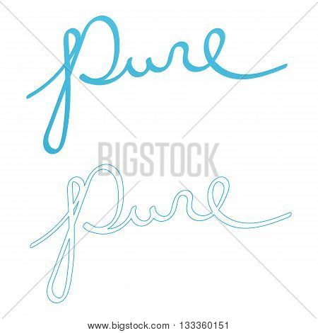 Vector hand drawn lettering word pure. Word pure in two variants with gradient and outlined letters isolated on white background.