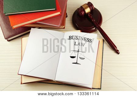 Open book with words business law