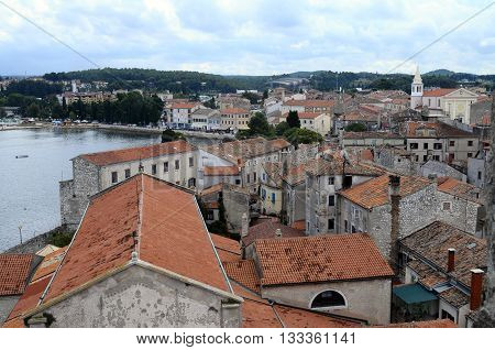 Overview of Porec village and sea in Croatia