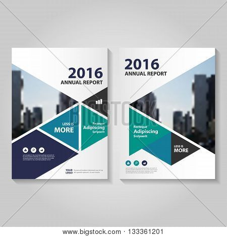 Blue Green Vector annual report Leaflet Brochure Flyer template design, book cover layout design, Abstract blue presentation templates