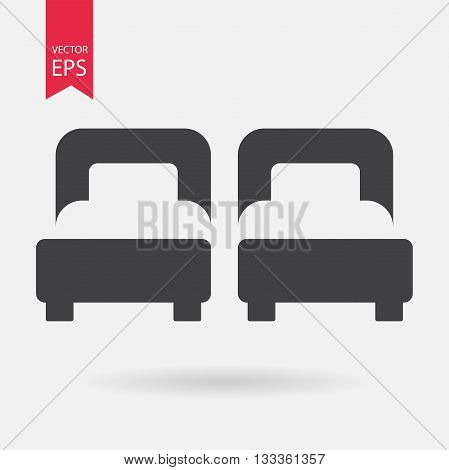 Hotel Room. Bed Icon vector. Flat design. Two Bed sign isolated on white background