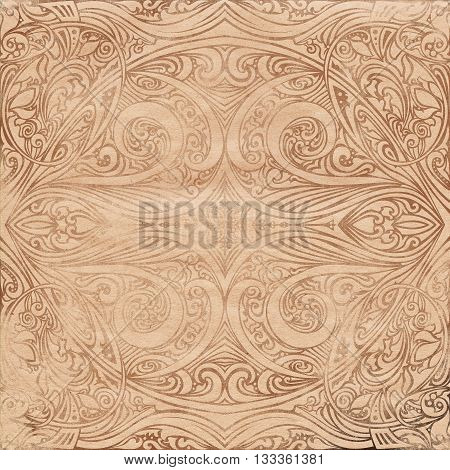 Old Vintage brown grunge background with swirl oriental scratched texture for design and scrapbooking