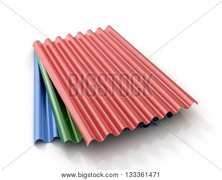 Steel colored goffered plates for roof decoration. 3d illustration