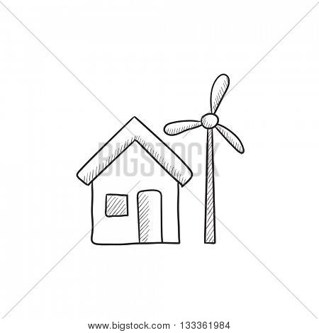 House with windmill vector sketch icon isolated on background. Hand drawn House with windmill icon. House with windmill sketch icon for infographic, website or app.