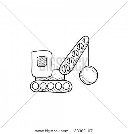 Demolition crane vector sketch icon isolated on background. Hand drawn Demolition crane icon. Demolition crane sketch icon for infographic, website or app.