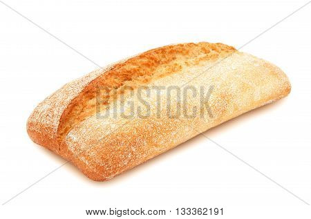 Freshly baked loaf of traditional italian bread ciabatta isolated on white background. Design element for bakery product label, catalog print, web use.