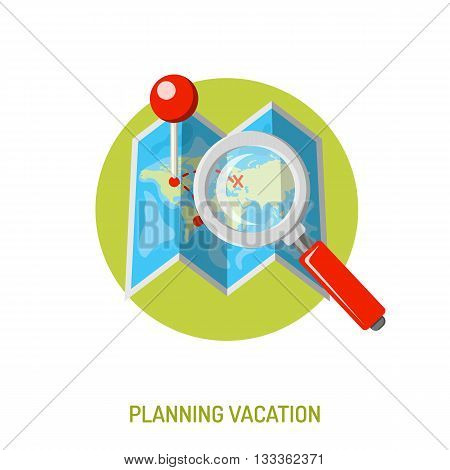 Vacation and Tourism Concept with Flat Icons for Mobile Applications, Web Site, Advertising like Planning, Map and Magnifier.