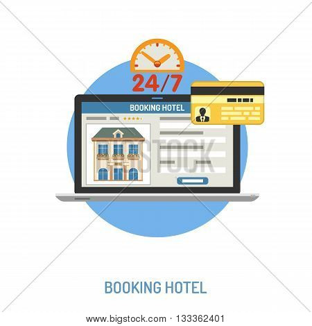 Vacation and Tourism Concept with Flat Icons for Mobile Applications, Web Site, Advertising like Planning, Booking, Hotel and Laptop.