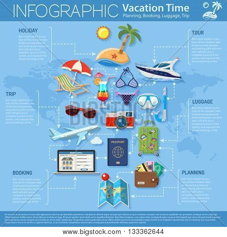 Vacation and Tourism Infographics with Flat Icons for Mobile Applications, Web Site, Advertising like Planning, Booking, Luggage, Trip, Cocktail, Island, Aircraft and Suitcase.