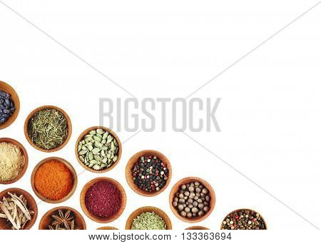 Set of different spices  with copy space for text, isolated on white