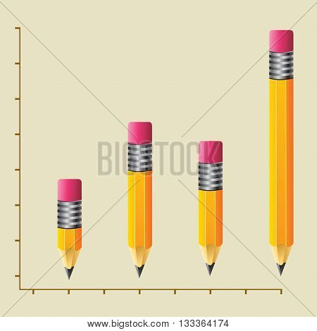 Vectors stock of increasing graphic charts with pencils