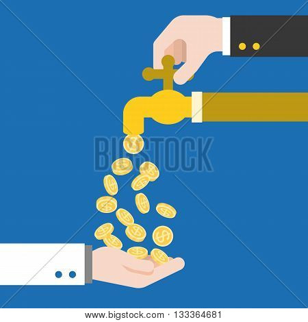 Hand open faucet, Money flowing from faucet, Hand carrying coins falling out from faucet, Business and Passive income vector illustration concept, flat design vector