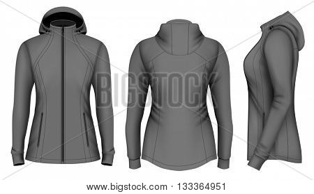 Soft shell hooded jacket for lady. Fully editable handmade mesh. Vector illustration.