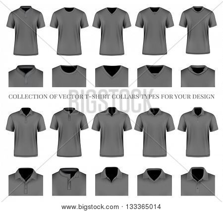 Collection of vector t-shirt collars types for your design. Fully editable handmade mesh. Vector illustration.