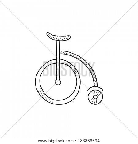 Circus old bicycle vector sketch icon isolated on background. Hand drawn Circus old bicycle icon. Circus old bicycle sketch icon for infographic, website or app.