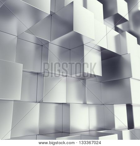 Metal cubes abstract background, with depth of field effect. 3d illustration