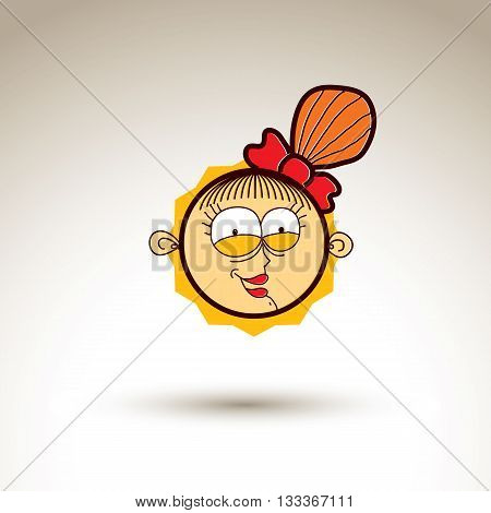 Vector Graphic Art Drawing Of Kid Face, Hand Drawn Cute Laughing Girl With Stylish Haircut. Social N