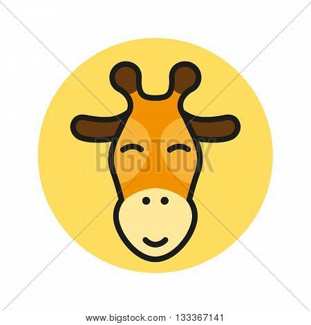 Giraffe vector icon. Giraffe flat icon. Round icon. Giraffe head icon