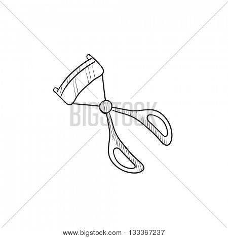Eyelash curler vector sketch icon isolated on background. Hand drawn Eyelash curler icon. Eyelash curler sketch icon for infographic, website or app.