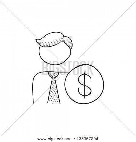 Man with dollar vector sketch icon isolated on background. Hand drawn Man with dollar icon. Man with dollar sketch icon for infographic, website or app.