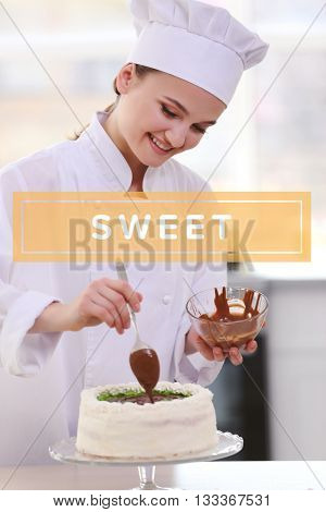 Confectioner cooking desserts at kitchen