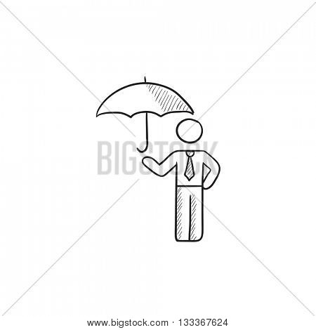 Businessman with umbrella vector sketch icon isolated on background. Hand drawn Businessman with umbrella icon. Businessman with umbrella sketch icon for infographic, website or app.