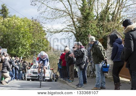 Conflans-Sainte-Honorine,France-March 6,2016: The Norwegian cyclist Vegard Stake Laengen of IAM Cycling Team riding during the prologue stage of Paris-Nice 2016.