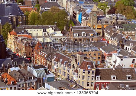 UTRECHT, NETHERLANDS - MAY 6, 2013: This is the view from the bell tower of the Cathedral in the historic part of town.