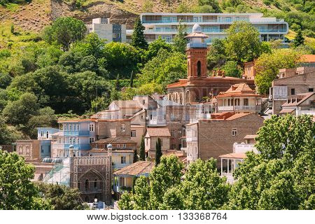 Scenic View Of Tbilisi Old Town, Georgia. Historic District. Abanotubani - Bath District - Is The Ancient District Of Tbilisi, Georgia, Known For Its Sulfuric Baths.