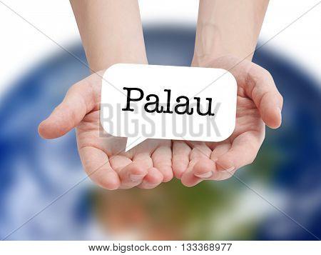 Palau written on a speechbubble