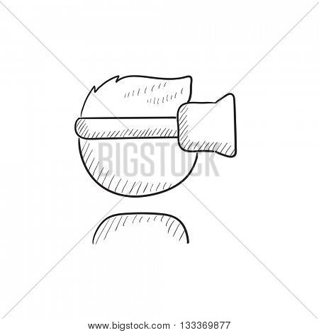 Man in virtual reality headset vector sketch icon isolated on background. Hand drawn Man in virtual reality headset icon. Man in virtual reality headset sketch icon for infographic, website or app.