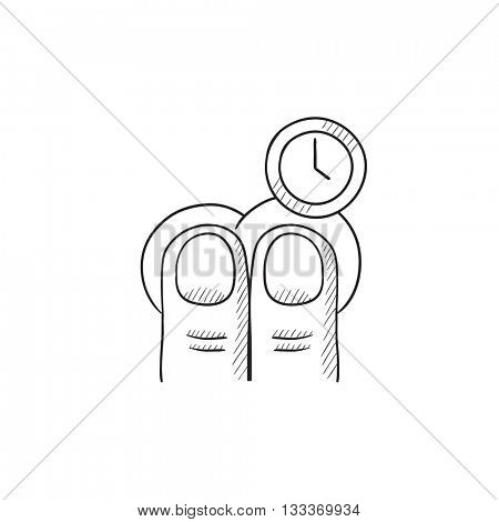 Hold timer gesture vector sketch icon isolated on background. Hand drawn Hold timer gesture icon. Hold timer gesture sketch icon for infographic, website or app.