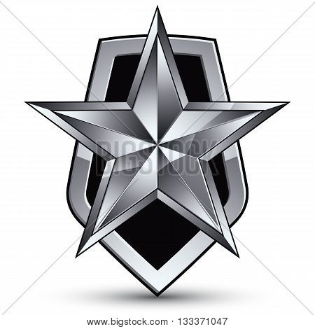 Vector stylized symbol isolated on white background. Glamorous pentagonal silver star