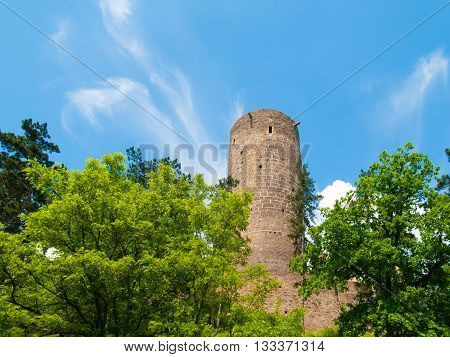Ruins of Zebrak Castle - medieval castle with typical stone rounded guard tower on sunny summer day, Czech Republic