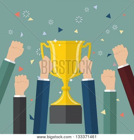 Businessman holding up a winning trophy. Business concept
