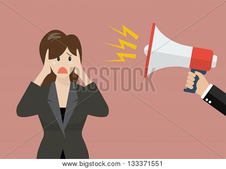 Hand hold megaphone screaming to business woman. Business concept