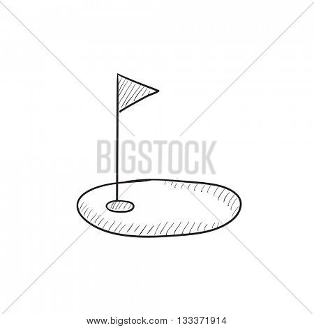 Golf hole with flag vector sketch icon isolated on background. Hand drawn Golf hole with flag icon. Golf hole with flag sketch icon for infographic, website or app.