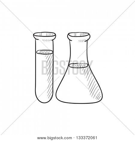 Test tubes vector sketch icon isolated on background. Hand drawn Test tubes icon. Test tubes sketch icon for infographic, website or app.