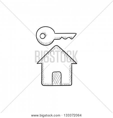 Key for house vector sketch icon isolated on background. Hand drawn Key for house icon. Key for house sketch icon for infographic, website or app.