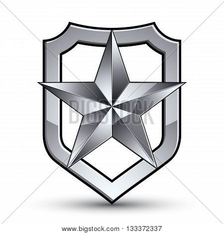 Sophisticated vector blazon with a silver star emblem silvery 3d pentagonal design element metallic