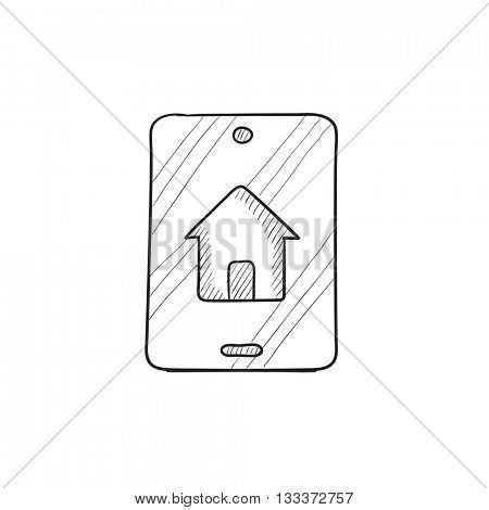 Property search on mobile device vector sketch icon isolated on background. Hand drawn Property search on mobile device icon. Property search sketch icon for infographic, website or app.