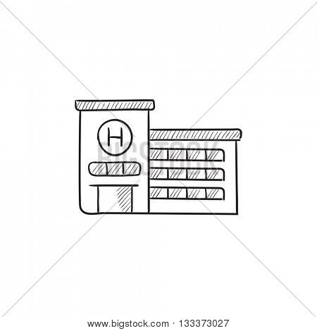 Hospital building vector sketch icon isolated on background. Hand drawn Hospital building icon. Hospital building sketch icon for infographic, website or app.