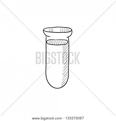 Test tube vector sketch icon isolated on background. Hand drawn Test tube icon. Test tube sketch icon for infographic, website or app.
